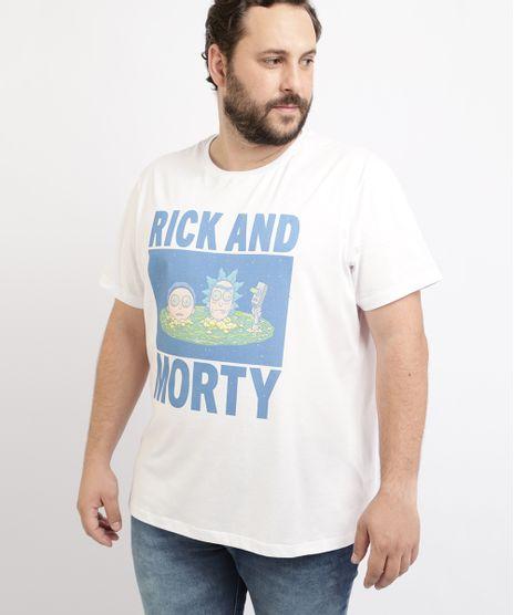 Camiseta-Masculina-Plus-Size-Rick-and-Morty-Manga-Curta-Gola-Careca-Branca-9962590-Branco_1