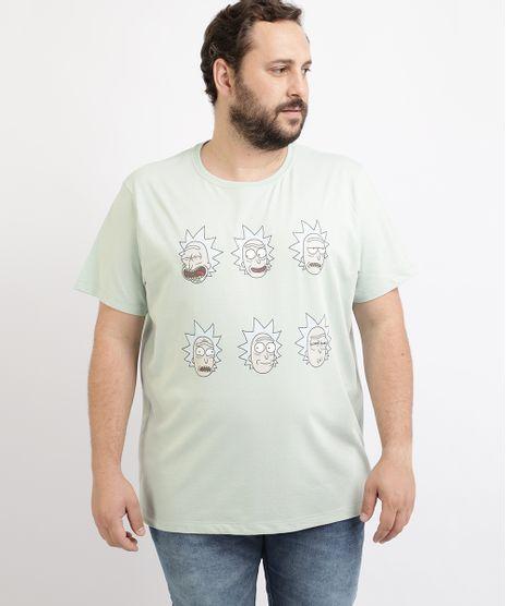 Camiseta-Masculina-Plus-Size-Rick-Manga-Curta-Gola-Careca-Verde-Claro-9962591-Verde_Claro_1