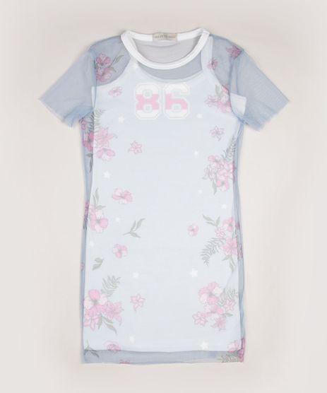 Vestido-Juvenil-com-Sobreposicao-de-Tule-Estampado-Floral-Manga-Curta-Azul-9956166-Azul_1