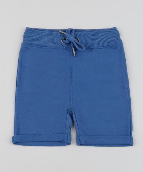 Bermuda-em-Moletom-Infantil-com-Cordao-e-Bolsos-Azul-9791583-Azul_1