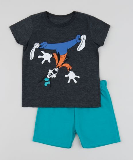 Conjunto-Infantil-Pateta-de-Camiseta-Manga-Curta-Cinza-Mescla-Escuro---Short--Verde-Agua-9952704-Verde_Agua_1