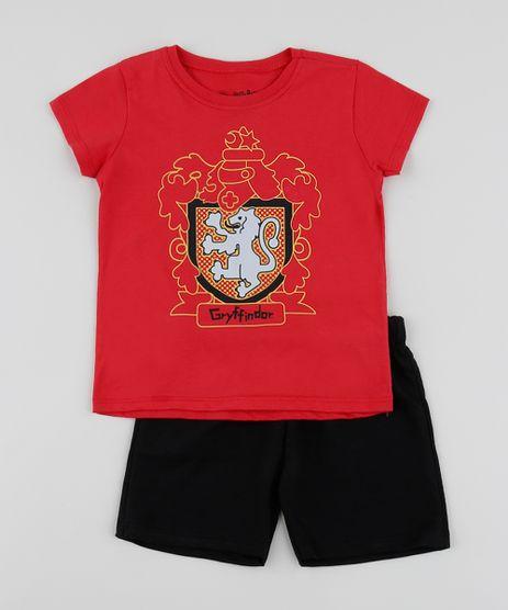 Conjunto-Infantil-Harry-Potter-de-Camiseta-Manga-Curta-Vermelha---Short--Preto-9952705-Preto_1