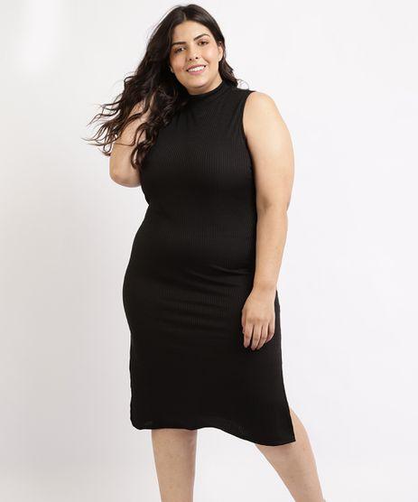 Vestido-Feminino-Plus-Size-Mindset-Midi-Canelado-com-Fenda-Regata-Gola-Alta-Preto-9964420-Preto_1