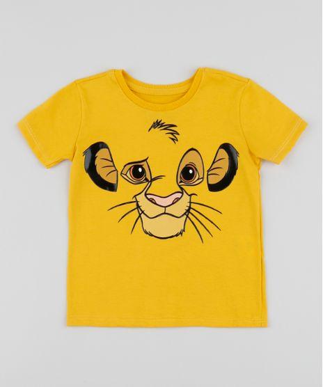 Camiseta-Infantil-Simba-O-Rei-Leao-Manga-Curta-Gola-Careca-Mostarda-9954131-Mostarda_1