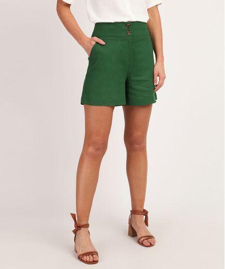 Short-Feminino-em-Linho-Cintura-Alta-com-Botoes-e-Bolsos--Verde-9898068-Verde_1