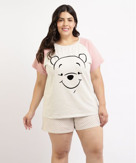 Pijama-Feminino-Plus-Size-Ursinho-Pooh-Blusa-Manga-Curta-Cinza-Mescla-Claro-9960369-Cinza_Mescla_Claro_1