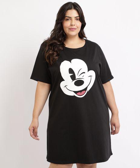 Camisola-Feminina-Plus-Size-Mickey-Manga-Curta-Preta-9953334-Preto_1