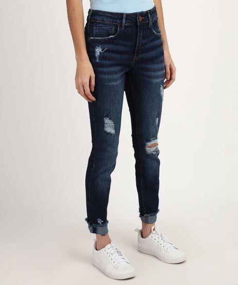 Calca-Jeans-Feminina-Cigarrete-Destroyed-Cintura-Media-Barra-Desfiada-Dobrada-Azul-Escuro-9960674-Azul_Escuro_1