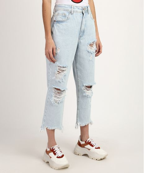 Calca-Jeans-Feminina-Mom-Cintura-Super-Alta-Cropped-Destroyed-Azul-Claro-9960200-Azul_Claro_1