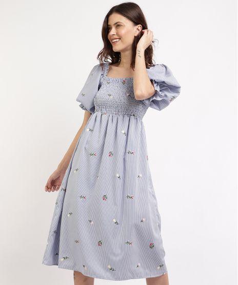 Vestido-Feminino-Mindset-Midi-Listrado-com-Bordado-Floral-e-Lastex-Manga-Bufante-Azul-9965555-Azul_1