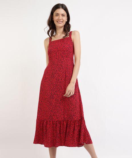 Vestido-Feminino-Mindset-Midi-Estampado-de-Poa-com-Babado-Alca-Media-Vermelho-9965569-Vermelho_1