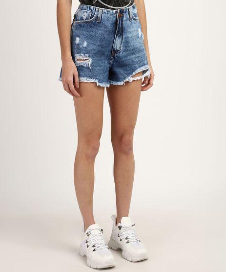 Short-Jeans-Feminino-Cintura-Super-Alta-Destroyed-Azul-Medio-9960672-Azul_Medio_1