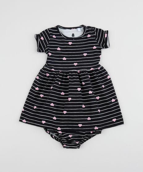 Vestido-Infantil-Estampado-Listrado-e-Coracoes-Manga-Curta---Calcinha-Preto-9961322-Preto_1