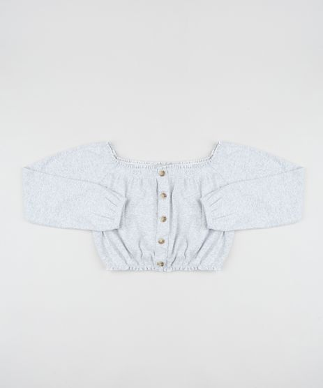 Blusa-Juvenil-Cropped-Ombro-a-Ombro-Canelada-com-Botoes-Cinza-Mescla-9805841-Cinza_Mescla_1