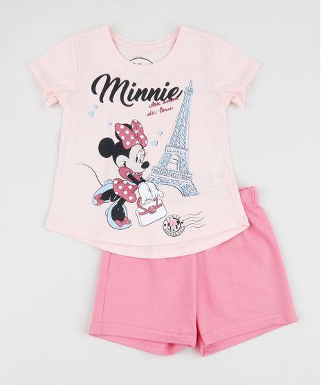 Conjunto-Infantil-Minnie-de-Blusa-Manga-Curta-Rosa---Short-Rosa-9954249-Rosa_1