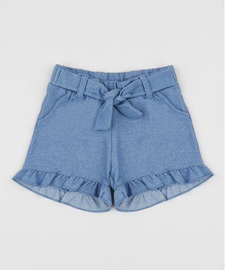 Short-Jeans-Infantil-com-Babados-e-Faixa-para-Amarrar-Azul-Medio-9956977-Azul_Medio_1