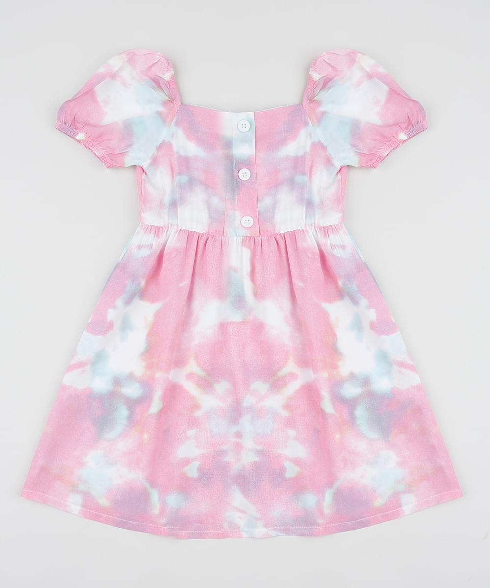 Vestido Infantil Estampado Tie Dye Manga Curta Bufante Multicor