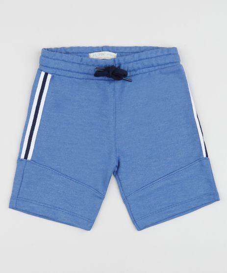 Bermuda-de-Moletom-Infantil-com-Recortes-e-Listras-nas-Laterais-Azul-9957278-Azul_1