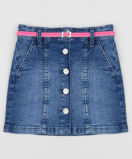 Saia-Jeans-Infantil-Curta-com-Botoes---Cinto-Azul-Escuro-9958811-Azul_Escuro_1