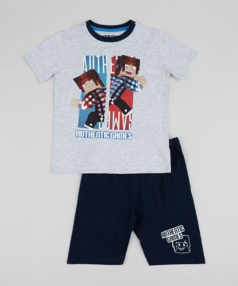 Pijama-Infantil-Authentic-Games-Manga-Curta-Cinza-Mescla-9960299-Cinza_Mescla_1