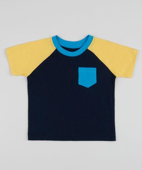 Camiseta-infantil-com-Bolso-Manga-Curta-Raglan-Gola-Careca-Azul-Marinho-9961497-Azul_Marinho_1