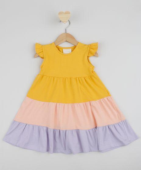 Vestido-Infantil-com-Recorte-e-Manga-Curta-com-Babados-Amarelo-9961513-Amarelo_1