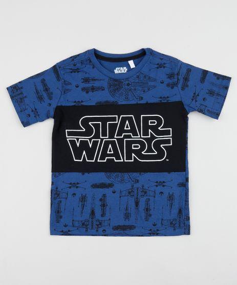 Camiseta-Infantil-Star-Wars-Estampada-com-Recorte-Manga-Curta-Azul-9962354-Azul_1