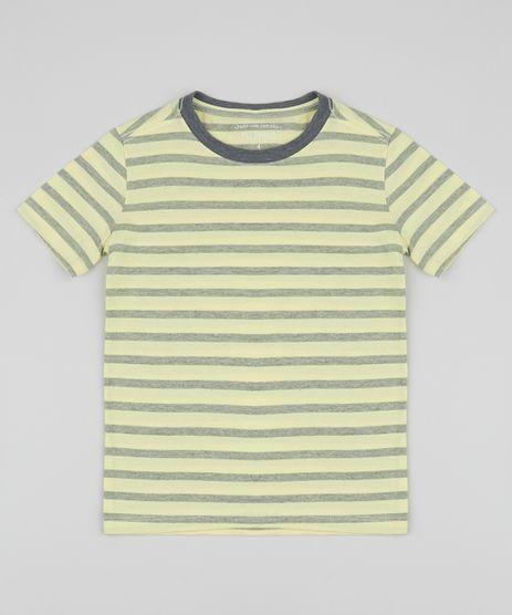 Camiseta-infantil-Listrada-Manga-Curta-Gola-Careca-Amarela-9962990-Amarelo_1