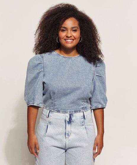 Blusa-Jeans-Feminina-Cropped-Marmorizada-Manga-Bufante-Decote-Redondo-Azul-Claro-9961022-Azul_Claro_1