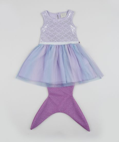Vestido-Infantil-Sereia-com-Calda-e-Tule-Manga-Curta-Lilas-9955583-Lilas_1