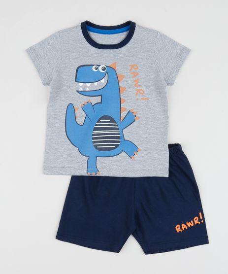 Pijama-Infantil-Dinossauro-Manga-Curta-Cinza-Mescla-9956717-Cinza_Mescla_1