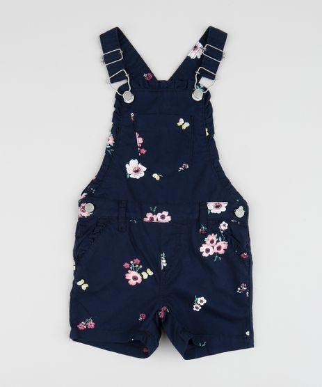 Jardineira-de-Sarja-Infantil-Estampada-Floral-com-Babados-Azul-Marinho-9958601-Azul_Marinho_1