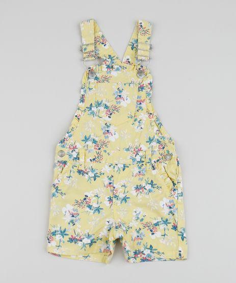Jardineira-de-Sarja-Infantil-Estampada-Floral-com-Babados-Amarela-9958602-Amarelo_1