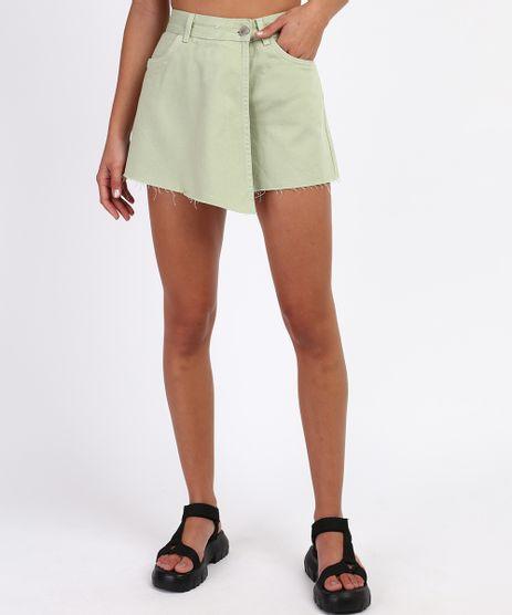 Short-Saia-Jeans-Feminino-Cintura-Super-Alta-Transpassado-Barra-Desfiada-Verde-9961616-Verde_1