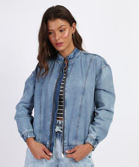 Jaqueta-Jeans-Feminina-Bomber-com-Ziper-Azul-Claro-9961387-Azul_Claro_1