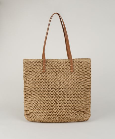 Bolsa-Feminina-Shopper-Grande-em-Palha-Bege-Escuro-9602438-Bege_Escuro_1