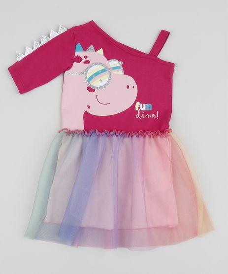 Vestido-Infantil-Dinossauro-com-Tule-Ombro-So-Manga-Longa-Rosa-9955127-Rosa_1
