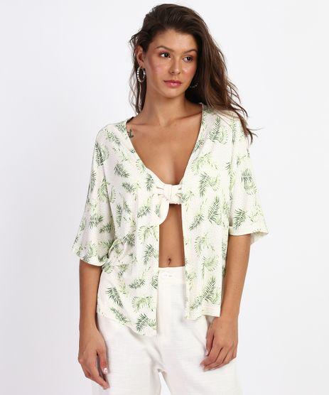 Kimono-Feminino-Estampado-de-Poa-e-Folhagens-Manga-Curta-Branco-9960973-Branco_1