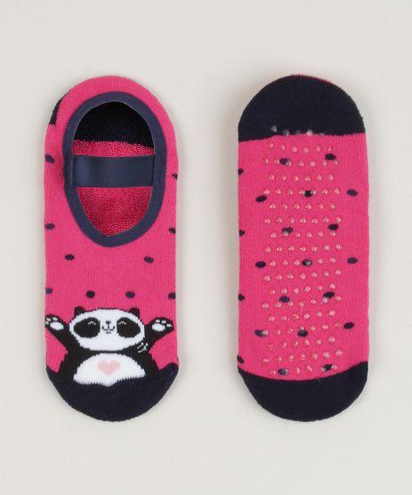 Meia-Sapatilha-Infantil-Panda-Estampada-Poa-Antiderrapante-Rosa-9957342-Rosa_1