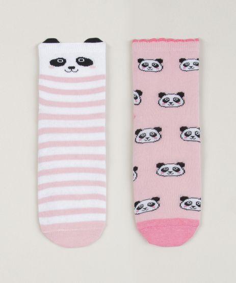 Kit-2-Meias-Infantis-Panda--Estampada-Listrada-Cano-Medio-Rosa-9957389-Rosa_1