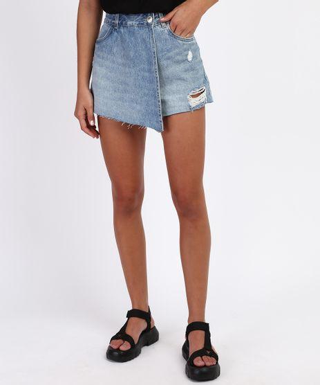 Short-Saia-Jeans-Feminino-Transpassado-Destroyed-Cintura-Alta-Azul-Claro-9961617-Azul_Claro_1
