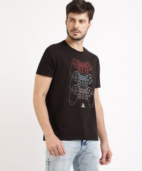 Camiseta-Masculina-Playstation-Manga-Curta-Gola-Careca-Preto-9955587-Preto_1