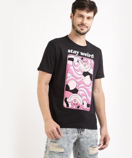 Camiseta-Masculina-Gatinho-Alice-no-Pais-das-Maravilhas-Manga-Curta-Gola-Careca-Preta-9959831-Preto_1