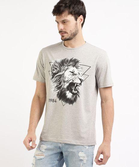 Camiseta-Masculina-Leao-Manga-Curta-e-Gola-Careca-Cinza-Mescla-Claro-9963295-Cinza_Mescla_Claro_1