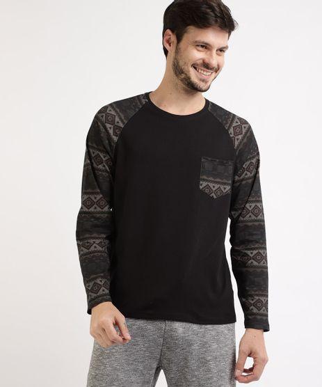 Camiseta-Masculina-Manga-Longa-Raglan-Estampada-Etnica-Gola-Careca-com-Bolso-Preta-9959720-Preto_1