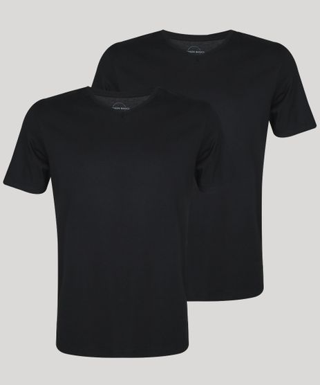 Kit-de-2-Camisetas-Masculinas-Basicas-Manga-Curta-Gola-Careca--Preto-9962735-Preto_1