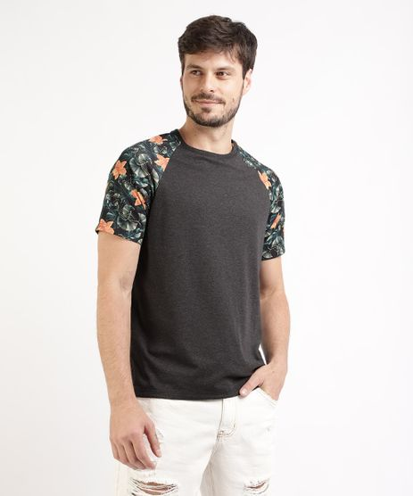 Camiseta-Masculina-Raglan-com-Estampa-Floral-Manga-Curta-Gola-Careca-Cinza-Mescla-Escuro-9939727-Cinza_Mescla_Escuro_1