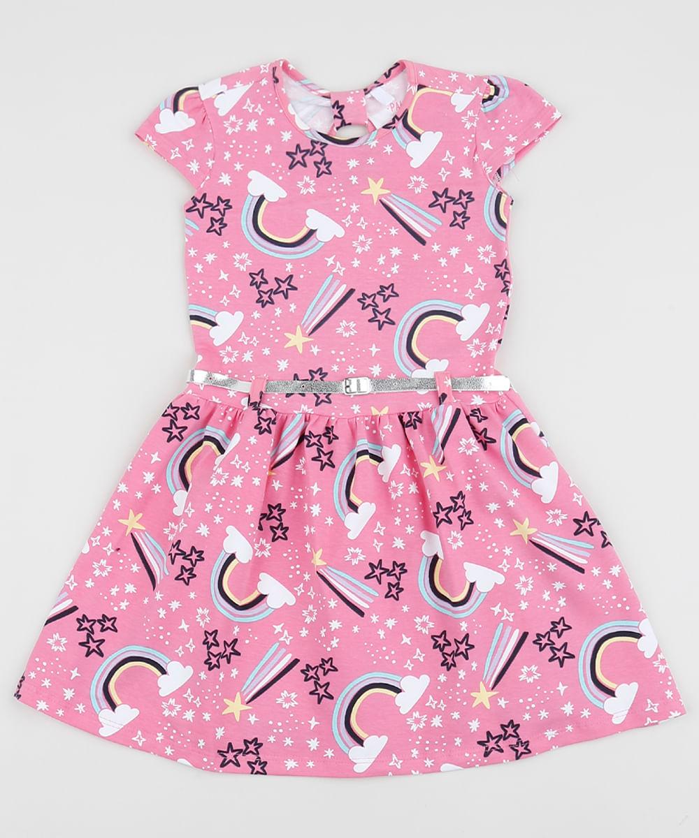Vestido Infantil Estampado de Arco-Íris Manga Curta com Cinto Rosa