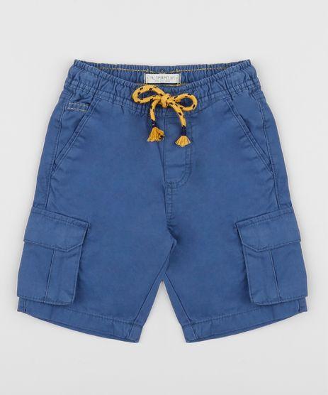 Bermuda-de-Sarja-Infantil-Cargo-com-Bolso-e-Cordao-Azul-Marinho-9953870-Azul_Marinho_1