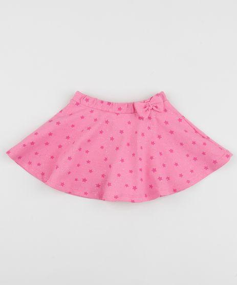Short-Saia-Infantil-Estampada-de-Estrelas-com-Laco-e-Glitter-Rosa-9954166-Rosa_1